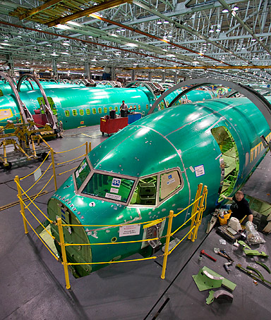 Boeing Co. 737 fuselage sections sit on the assembly floor at Spirit AeroSystems in Wichita, Kansas, U.S., on Thursday, March 11, 2010.