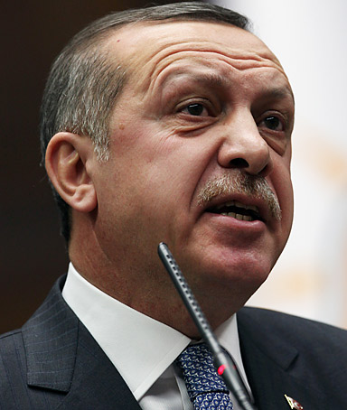 Turkish Prime Minister Recep Tayyip Erdogan addresses lawmakers and supporters of his party at the parliament in Ankara, Turkey, Tuesday, Jan. 24, 2012.