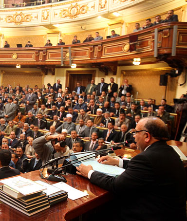 Newly elected speaker of the Egyptian parliament, Saad al-Katatni, of the Muslim Brotherhood, addresses the first Egyptian parliament session after the ousting of former President Hosni Mubarak, January 23, 2012 in Cairo, Egypt.