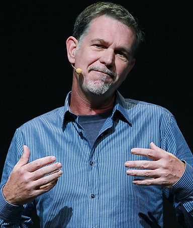 Netflix CEO Reed Hastings makes an appearance during a keynote address by Facebook CEO Mark Zuckerberg at the Facebook f8 conference on September 22, 2011 in San Francisco, California.