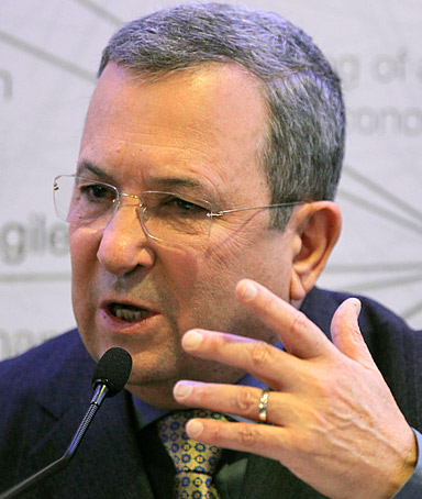 Israel's Defense Minister Ehud Barak gestures as he speaks during a session at the World Economic Forum in Davos, Switzerland, Friday, Jan. 27, 2012.