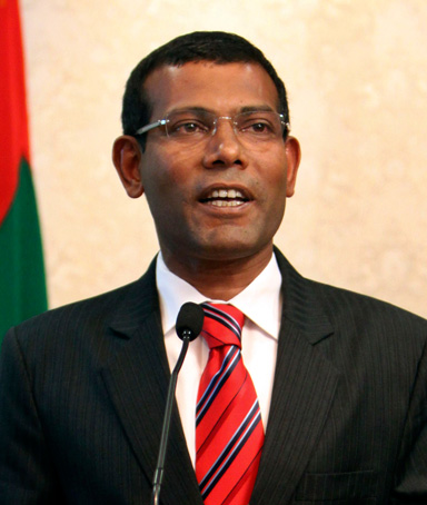 Maldives President Mohamed Nasheed announces his resignation in Male, Maldives, Tuesday, Feb. 7, 2012