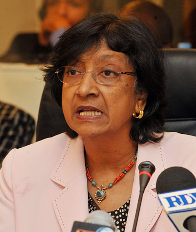 UN human rights chief Navi Pillay gives a press conference on March 16, 2011 after signing a renewed memorandum of understanding covering the Office of the High Commissioner for Human Rights regional office for an indefinite period.