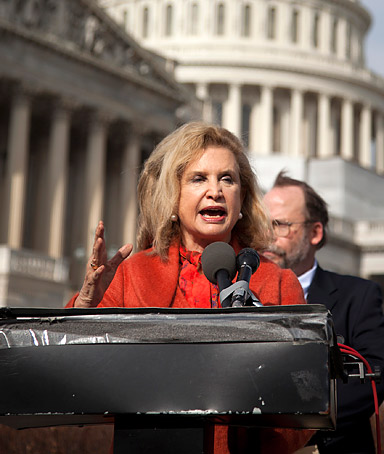 Rep. Carolyn Maloney, D-N.Y., speaks in support of Richard Cordray as director of the Consumer Financial Protection Bureau, Tuesday, Jan. 24, 2012,  during a news conference on Capitol Hill in Washington.