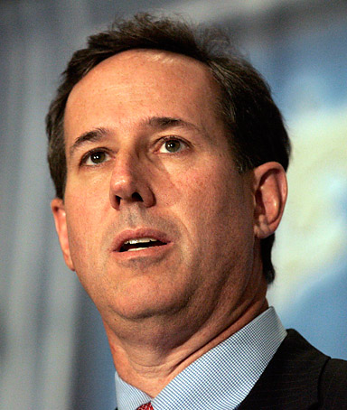 Republican presidential candidate Rick Santorum addresses the Detroit Economic Club during a campaign stop in Detroit, Michigan February 16, 2012.