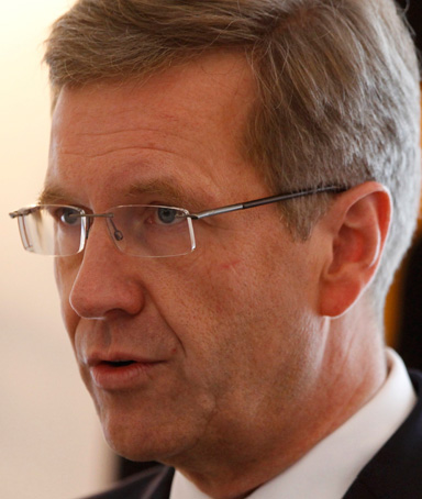 German President Christian Wulff makes a statement in the presidential residence Bellevue Palace in Berlin, February 17, 2012