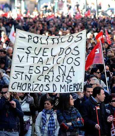 Protesters demonstrate against Spain's government new labour reform in Valencia on February 19, 2012.