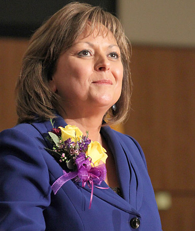 New Mexico Gov. Susana Martinez looks toward the gallery as she prepares to address a joint session of the House and Senate during the first day of the Legislature in Santa Fe, N.M., on Tuesday, Jan. 17, 2012.
