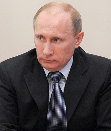 Russia's Prime Minister Vladimir Putin chairs a meeting on military-technical cooperation in his Novo-Ogaryovo residence outside Moscow, on February 27, 2012.