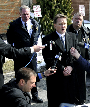 Chardon School Superintendant Joe Bergant speaks to the media during a press conference at Chardon High School where a shooting took place on February 27, 2012 in Chardon, Ohio