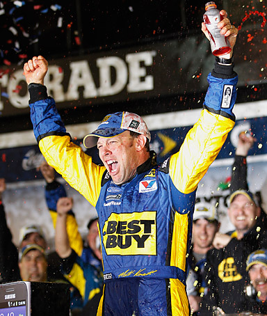 Matt Kenseth celebrates after winning the NASCAR Daytona 500 Sprint Cup series auto race at Daytona International Speedway in Daytona Beach, Fla., early Tuesday, Feb. 28, 2012.