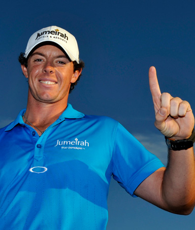 Rory McIlroy holds the trophy after winning the Honda Classic golf tournament in Palm Beach Gardens, Fla., Sunday, March 4, 2012. McIlroy became the top-ranked golfer in the world