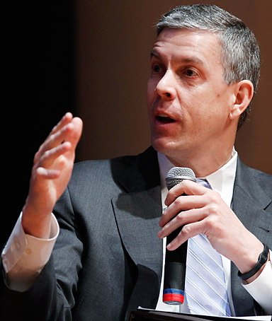 Secretary of Education Arne Duncan speaks during a forum on education at American University in Washington, Friday, March 2, 2012.