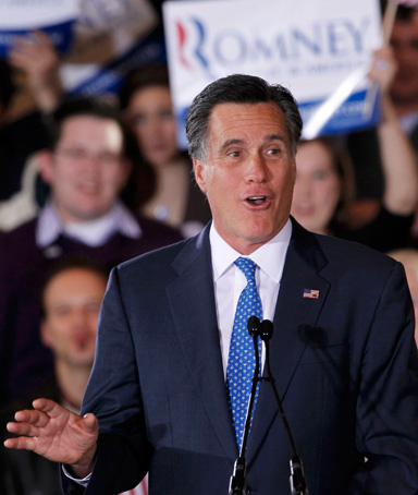 Republican U.S. presidential candidate and former Massachusetts Governor Mitt Romney speaks to supporters at his