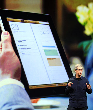 Apple CEO Tim Cook speaks during an event in San Francisco, March 7, 2012