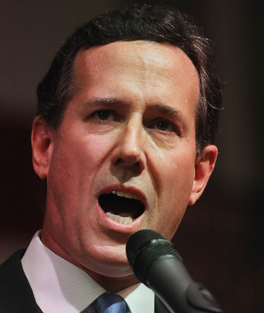 Republican presidential candidate, former U.S. Sen. Rick Santorum speaks during the election night rally at the Steubenville High School gymnasium on March 6, 2012 in Steubenville, Ohio.