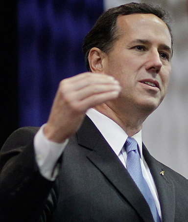 Republican presidential candidate, former Pennsylvania Sen. Rick Santorum speaks during the Cape County Republican Women's Lincoln Day Dinner, Saturday, March 10, 2012, in Cape Giradeau, Mo.