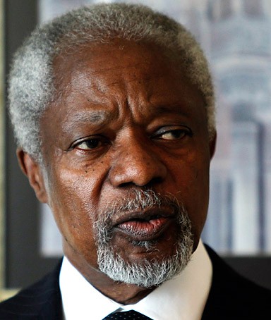 U.N.-Arab League envoy Kofi Annan reads a statement after his meeting with Syria's President Bashar al-Assad in Damascus March 11, 2012.