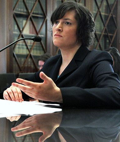 Sandra Fluke, a third-year law student at Georgetown University, testifies during a hearing before the House Democratic Steering and Policy Committee February 23, 2012 on Capitol Hill in Washington, DC.