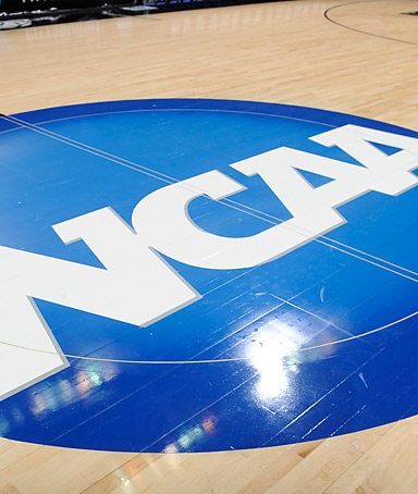 The NCAA logo on the basketball court during the third round of the 2011 NCAA men's basketball tournament between the Butler Bulldogs and the Pittsburgh Panthers at the Verizon Center on March 19, 2011 in Washington, DC.