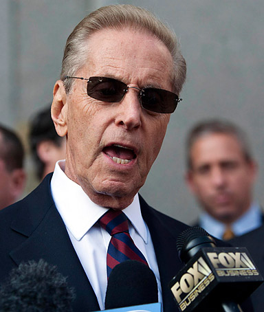 New York Mets' owner Fred Wilpon speaks to the media outside the New York Federal Court March 19, 2012.