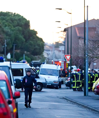 A general view of emergency services in the area after an operation to arrest Mohammed Merah, the man suspected of killing seven victims including three children in separate gun attacks on March 22 in Toulouse, France
