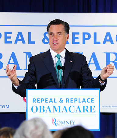 Republican Presidential candidate Mitt Romney speaks during an event at NuVasive, a maker of devices intended to improve spinal care, in San Diego on March 26, 2012 in California.