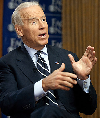 In this handout image provided by CBS News, Vice President Joe Biden is interview by Bob Schieffer during a taping of