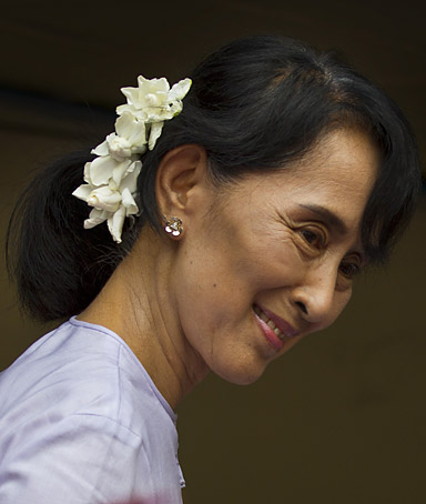 Democracy leader Aung San Suu Kyi speaks at the National League for Democracy (NLD) party headquarters after winning her seat in the parliament and a landslide victory in the parliamentary elections April 2, 2012 in Yangon, Myanmar.
