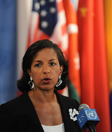 Susan Rice, US Ambassador to the United Nations, speaks to the media outside Security Council chambers April 2, 2012 after a closed-door meeting on Syria at UN headquarters in New York.