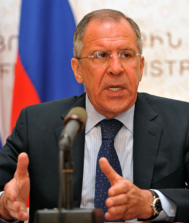 Russian Foreign Minister Sergei Lavrov speaks to the media in Yerevan, on April 2, 2012