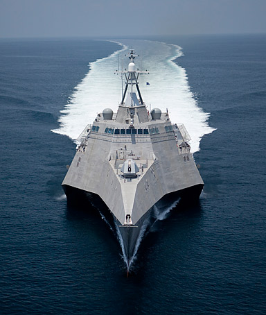 This image provided by the US Navy shows the littoral combat ship Independence (LCS 2) underway during builder's trials on July 12, 2009.