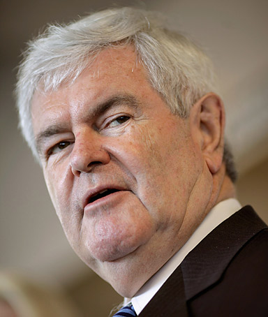 Republican presidential candidate, former House Speaker Newt Gingrich (R-GA) speaks during a campaign event at The Frederick Motor Company, a Ford auto dealership, April 2, 2012 in Frederick, Maryland.