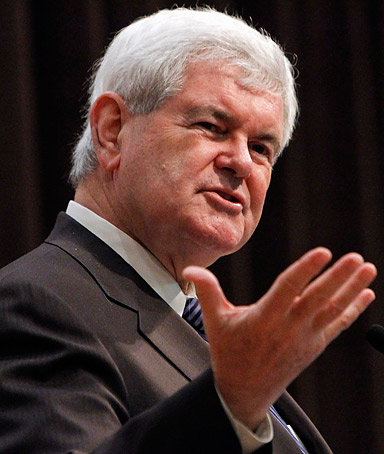 Republican presidential candidate, former House Speaker Newt Gingrich speaks to the Hood College Republicans during a campaign stop at Hood College in Frederick, Md., Monday, April 2, 2012.