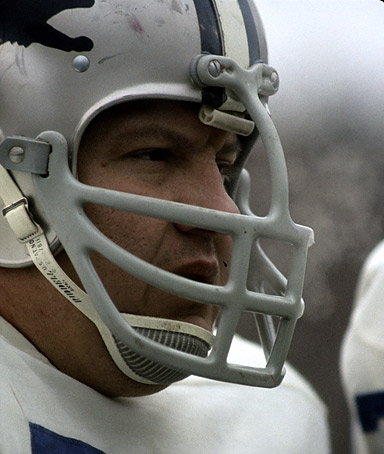 Detroit Lions defensive tackle Alex Karras (71) during the Lions 16-10 victory over the Green Bay Packers on November 23, 1968 at Lambeau Field in Green Bay, Wisconsin.