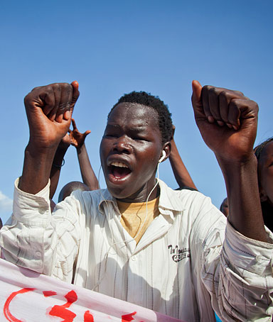 Protesters shout slogans outside the United Nations Mission in South Sudan (UNMISS) in Juba, on April 13, 2012.