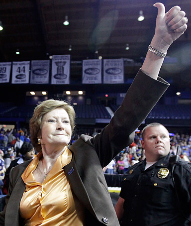 Tennessee head coach Pat Summitt gives a thumbs-up as she leaves the court after Tennessee defeated DePaul 63-48 in an NCAA tournament second-round women's college basketball game in Rosemont, Ill., Monday, March 19, 2012.