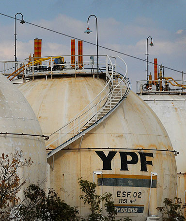 The YPF SA refinery stands in Lujan de Cuyo, Argentina, on April 17, 2012