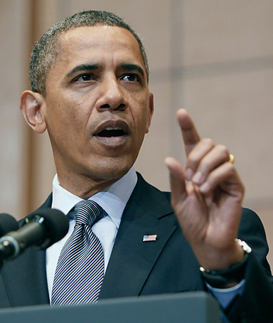 U.S. President Barack Obama speaks at the Holocaust Museum April 23, 2012 in Washington, DC. Obama reportedly announced a new sanctions March 23, on Iran and Syria for entities and people using technology to target citizens.