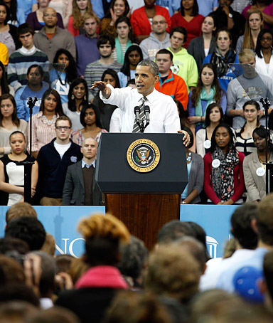 President Barack Obama points during a speech at Carmichael Auditorium at the University of North Carolina in Chapel Hill, North Carolina, Tuesday, April 24, 2012.