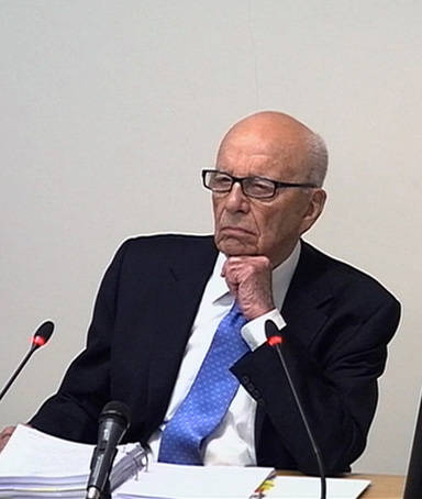A still image from broadcast footage shows News Corporation Chief Executive and Chairman, Rupert Murdoch, speaking at the Leveson Inquiry into the culture, practices and ethics of the media, at the High Court in London April 25, 2012