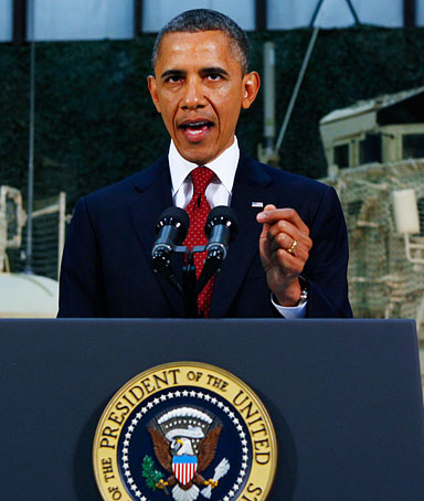 U.S. President Barack Obama delivers a television address to the American public on U.S. policy and the war in Afghanistan during his visit to Bagram Air Base in Kabul, Afghanistan,