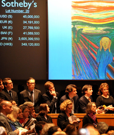 Representatives speak to potential bidders on the phone during an auction for Edvard Munch's painting entitled The Scream at a Sotheby's auction in New York, May 2, 2012