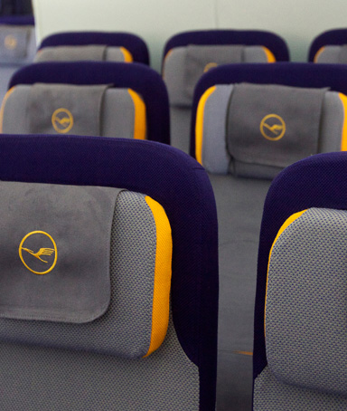 Economy class seats are pictured on a  Boeing 747-8 Intercontinental airliner which was delivered to launch partner Lufthansa at the Boeing factory at Paine Field Airport May 1, 2012 in Everett, Washington