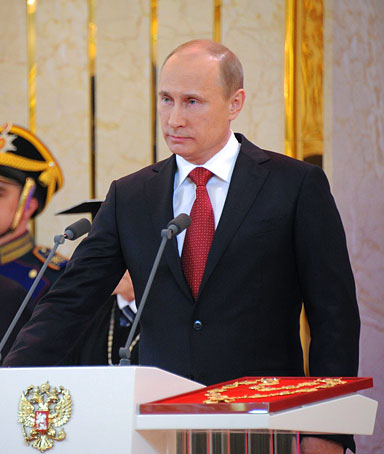 Russia's president-elect Vladimir Putin takes his oath of office in Moscow�s Kremlin, on May 7, 2012