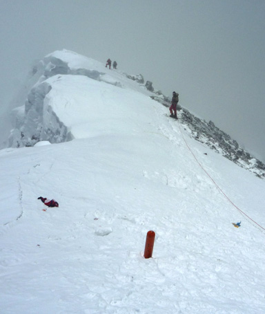 In this photograph taken on May 19, 2009, unidentified mountaineers descend from the summit of Everest