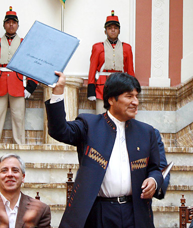 Bolivia's President Evo Morales during May Day celebrations at the presidential palace in La Paz May 1, 2012.