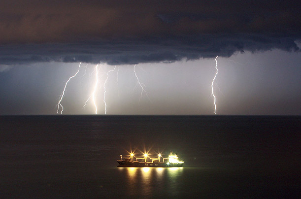 sorm sea lightening beirut lebanon ship