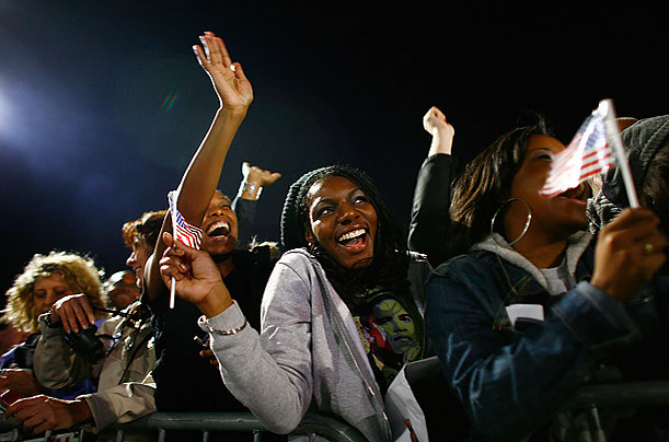Cheers went up as results from states around the nation were announced in favor of Obama.