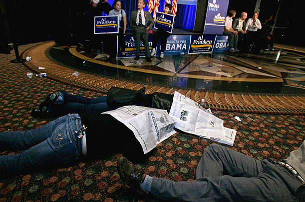 The Minnesota Senate race between Al Franken and Norm Coleman remains undecided. Some of Franken's supporters try to get some sleep during the wait.